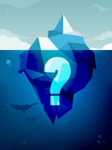 Iceberg with a question mark is a good metaphor for rules and regulations for businesses.