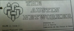 Masthead banner from The Networker 1981, originally sponsored by the Commission on the Status of Women, City of Austin.